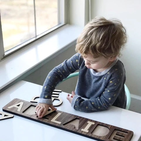Wooden Name Puzzles Made In The Usa Smiling Tree Toys