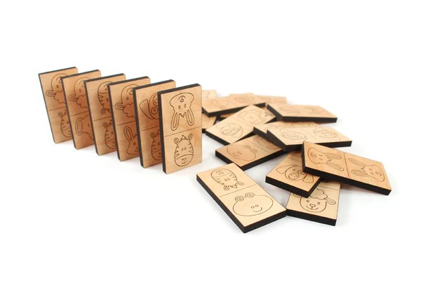 Animal Dominoes Wooden Game Set Smiling Tree