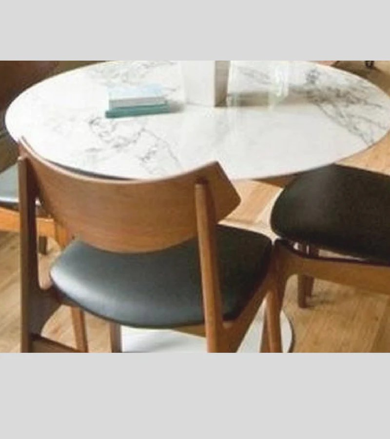 White Carrara Marble Tulip Style Dining Table Onske