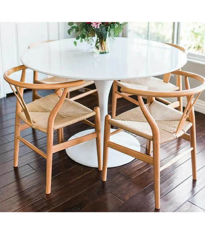 Tulip Style White Gloss Dining Table Onske