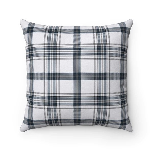 gray and blue plaid pillow cover