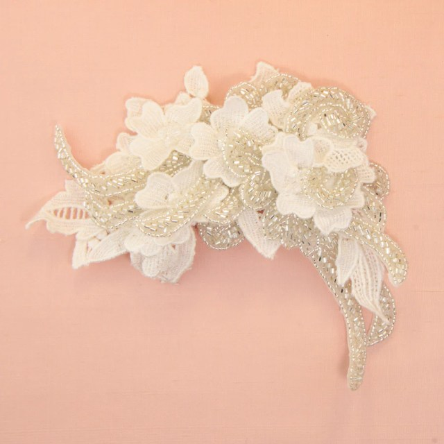 bridal hair accessories with lace - roman & french