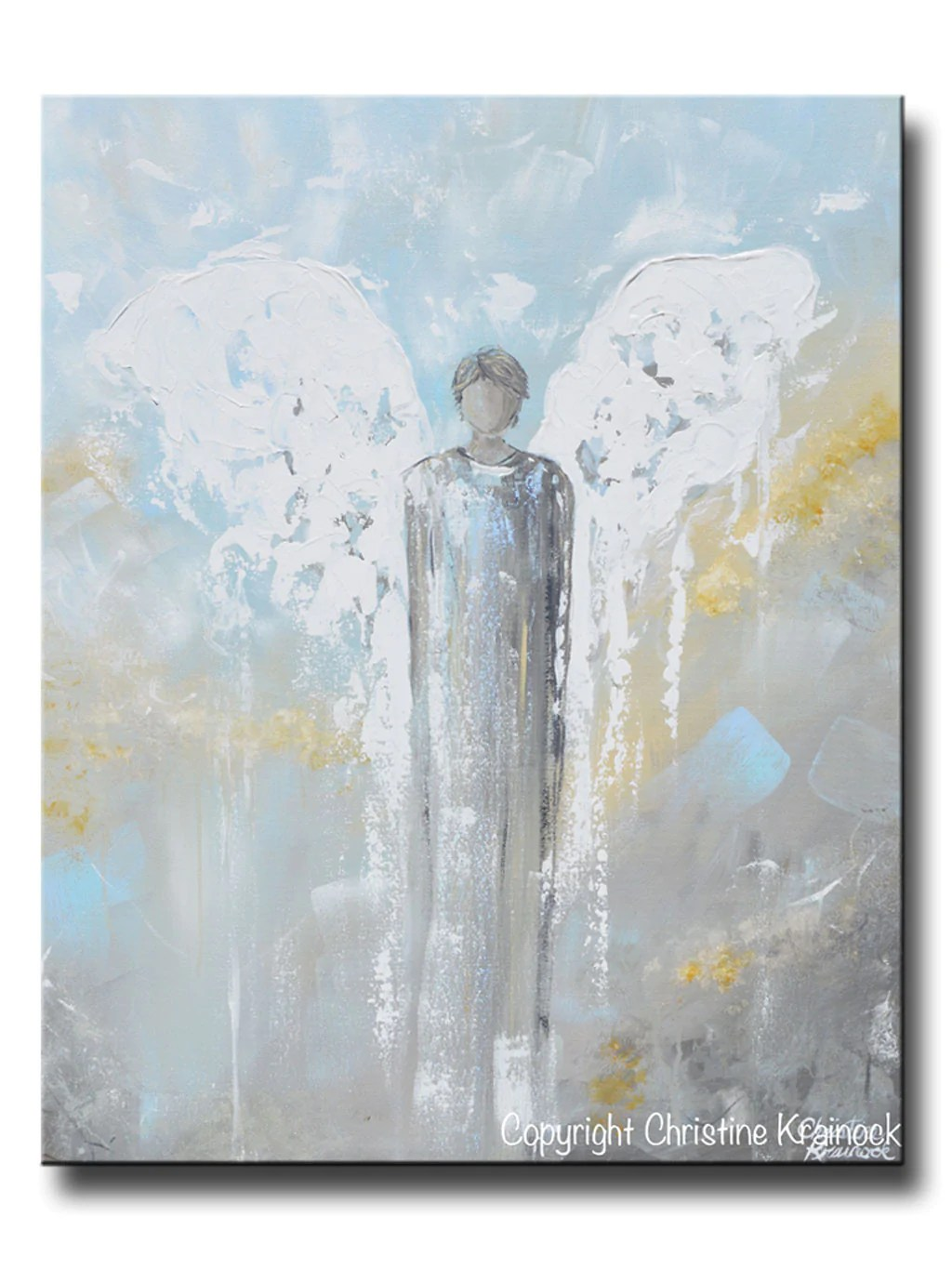 ORIGINAL Abstract Angel Painting Male Guardian Angel Home Wall Art