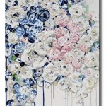 Giclee Print Art Abstract Painting Modern Floral Navy Blue White Pink Flowers Canvas Wall Decor