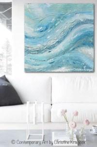 ORIGINAL Art Abstract Painting Coastal Wall Decor Blue ...