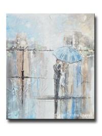 ORIGINAL Art Abstract Painting Couple w/ Umbrella Romantic ...