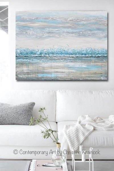 light grey living room decor 48 ideas for decorating a modern original art abstract painting horizon landscape blue ...