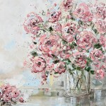 Original Art Abstract Floral Painting Textured Pink Flowers Bouquet Contemporary Art By Christine