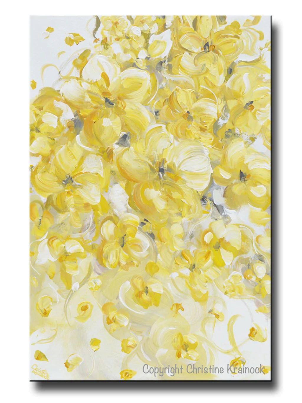 Yellow And Grey Flower Wall Art - yellow and gray canvas wall art ...
