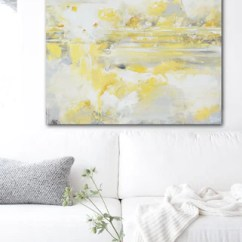 Modern Living Room Canvas Art Tv Stand For Print Yellow Grey Abstract Painting Coastal Gold Giclee White Wall Decor