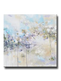ORIGINAL Art Abstract Painting Blue White Grey Purple ...