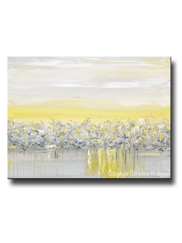 Giclee Print Art Yellow Grey Abstract Painting Modern Coastal Wall ...