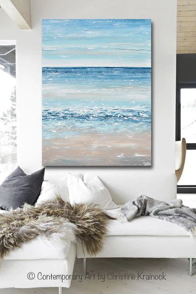 modern decor living room ideas design for with fireplace and tv original art blue abstract painting large textured beach ...