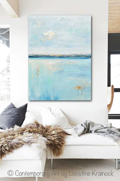ORIGINAL Art Blue Abstract Painting Seascape Ocean Aqua