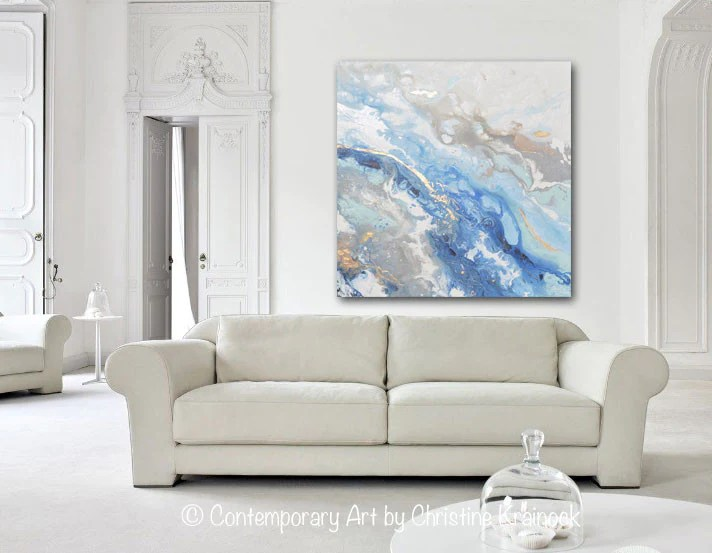 PRINT Art Blue White Abstract Painting Marbled Coastal