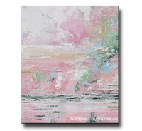 ORIGINAL Art Abstract Pink White Painting Modern Wall Art