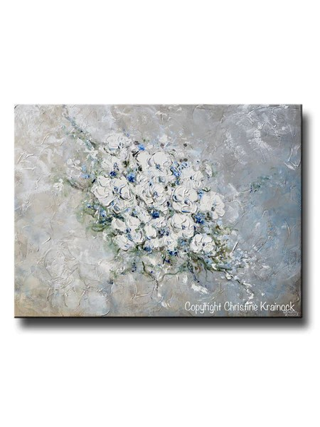 ORIGINAL Art Abstract White Flowers Painting Textured Bouquet Wall Art  Contemporary Art by