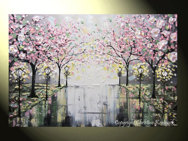 SOLD Original Art Abstract Painting Pink White Cherry Tree