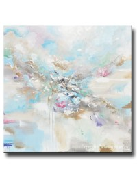 ORIGINAL Art Abstract Blue White Painting Large 48