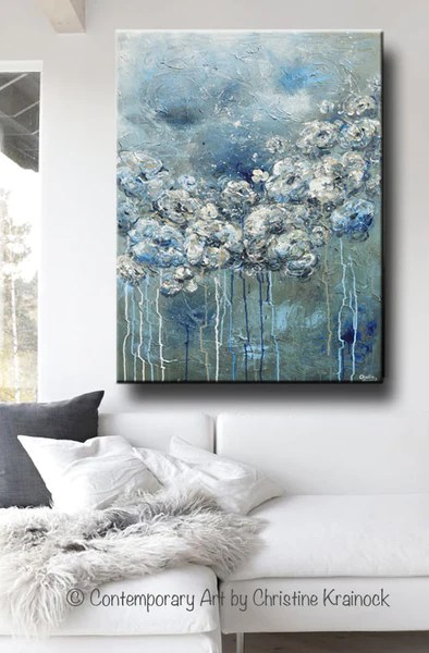 living room flowers interior designs for rooms with vaulted ceilings giclee print art abstract blue white flower painting ...