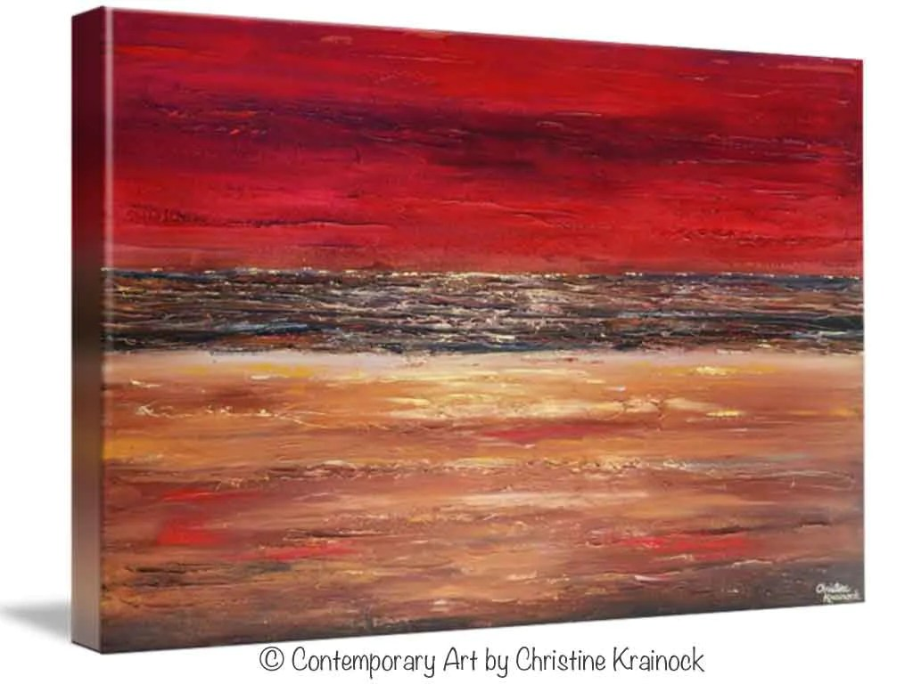 GICLEE PRINT Art Abstract Red Painting Canvas Prints