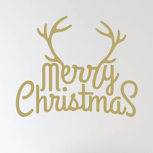 Merry Christmas Antlers Wall Sticker