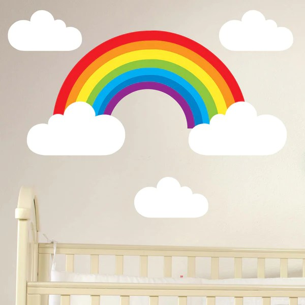 Rainbow  Clouds Set Wall Stickers  wallstickerscouk