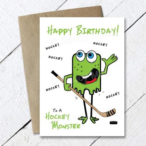 Kids Hockey Monster Birthday Card Saucy Mitts Hockey
