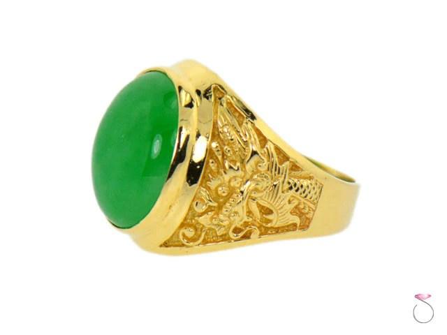 Green Jadeite Dragon Motif Mens 14K Yellow Gold Ring SBEJ
