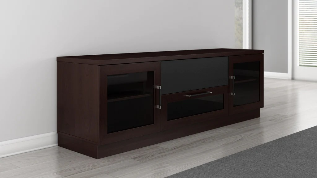 Tempered Glass Fireplace Tv Stand In A Contemporary Wenge Finish | Furnitech