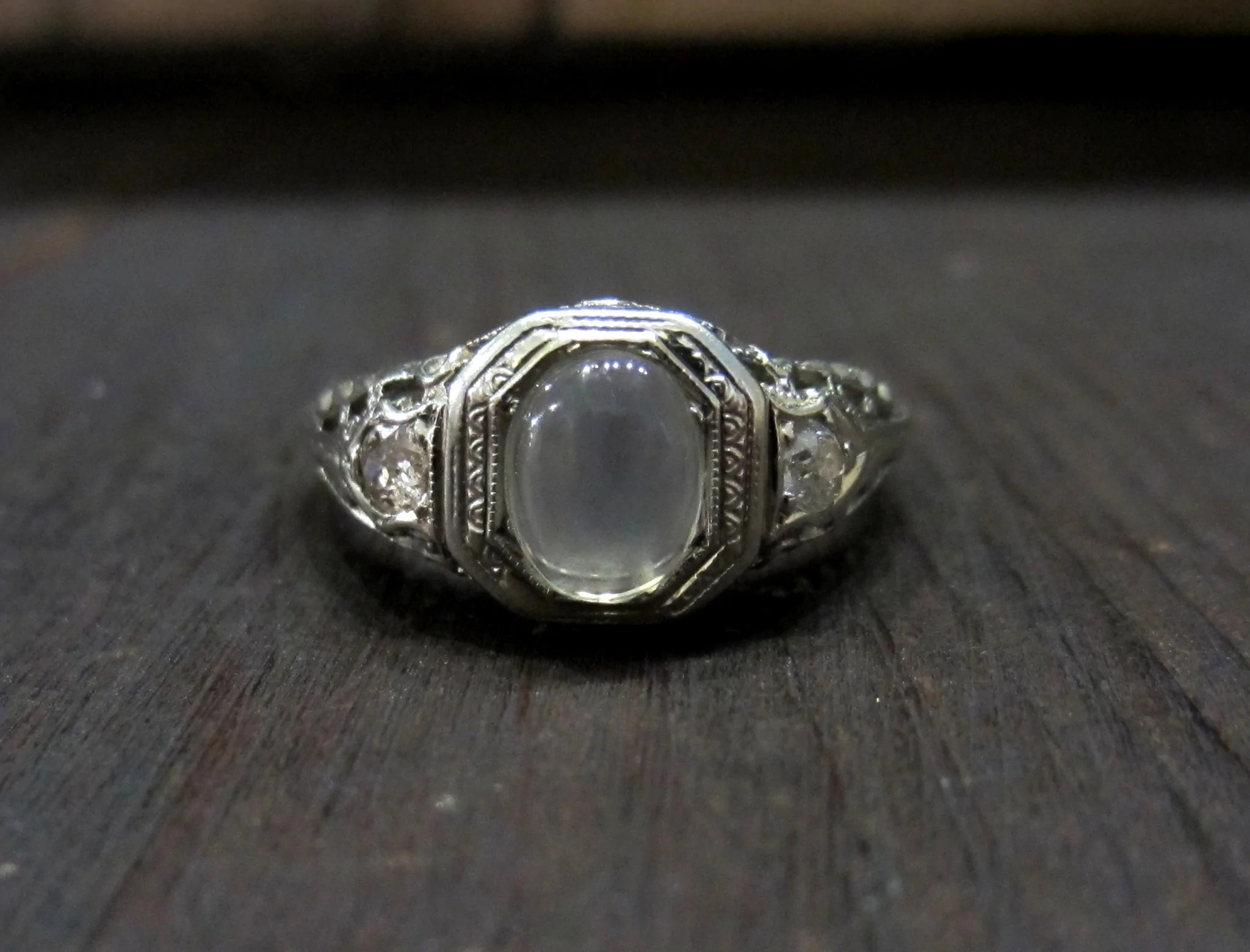 SOLD Edwardian Moonstone And Old European Diamond Ring