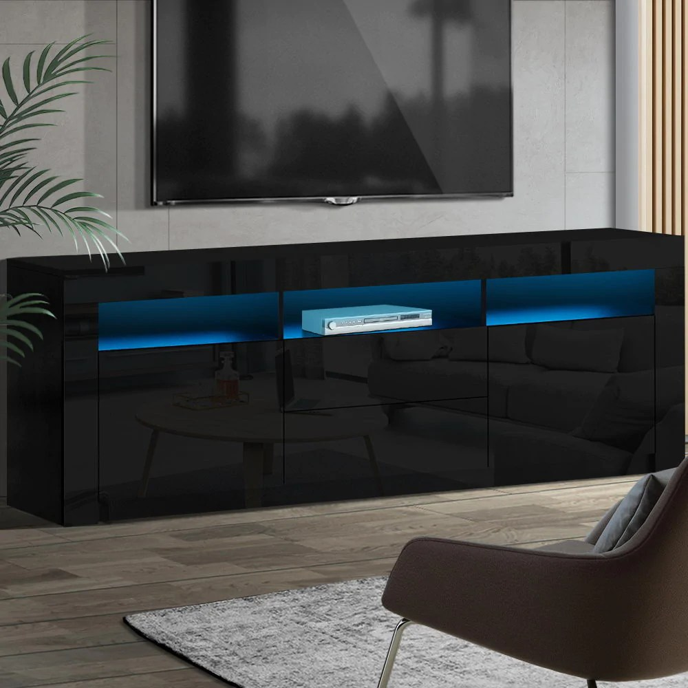 horizon in built led lighting tv stand entertainment cabinet w draw