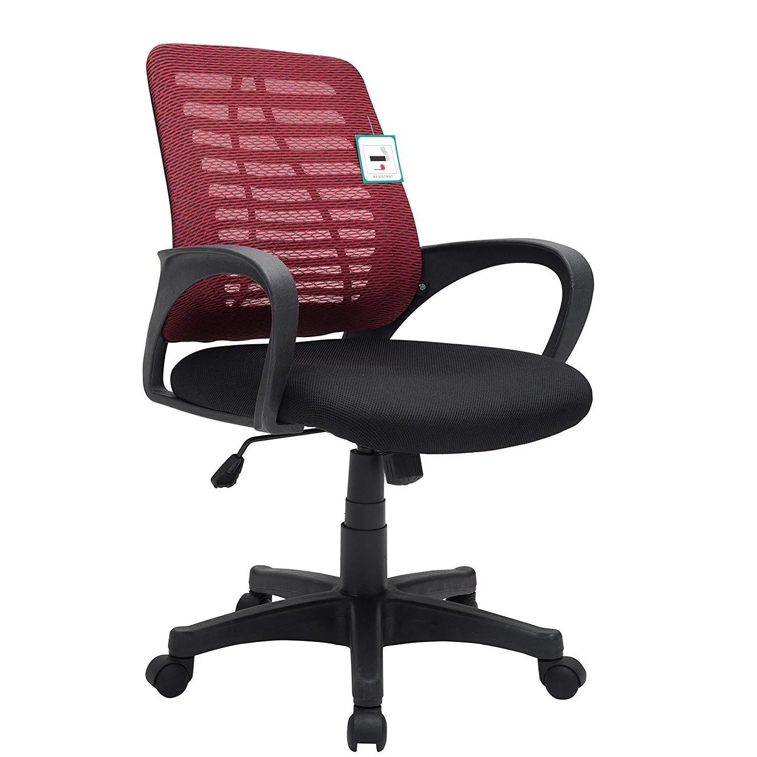 padded office chair computer staples mesh fabric extra operator in red