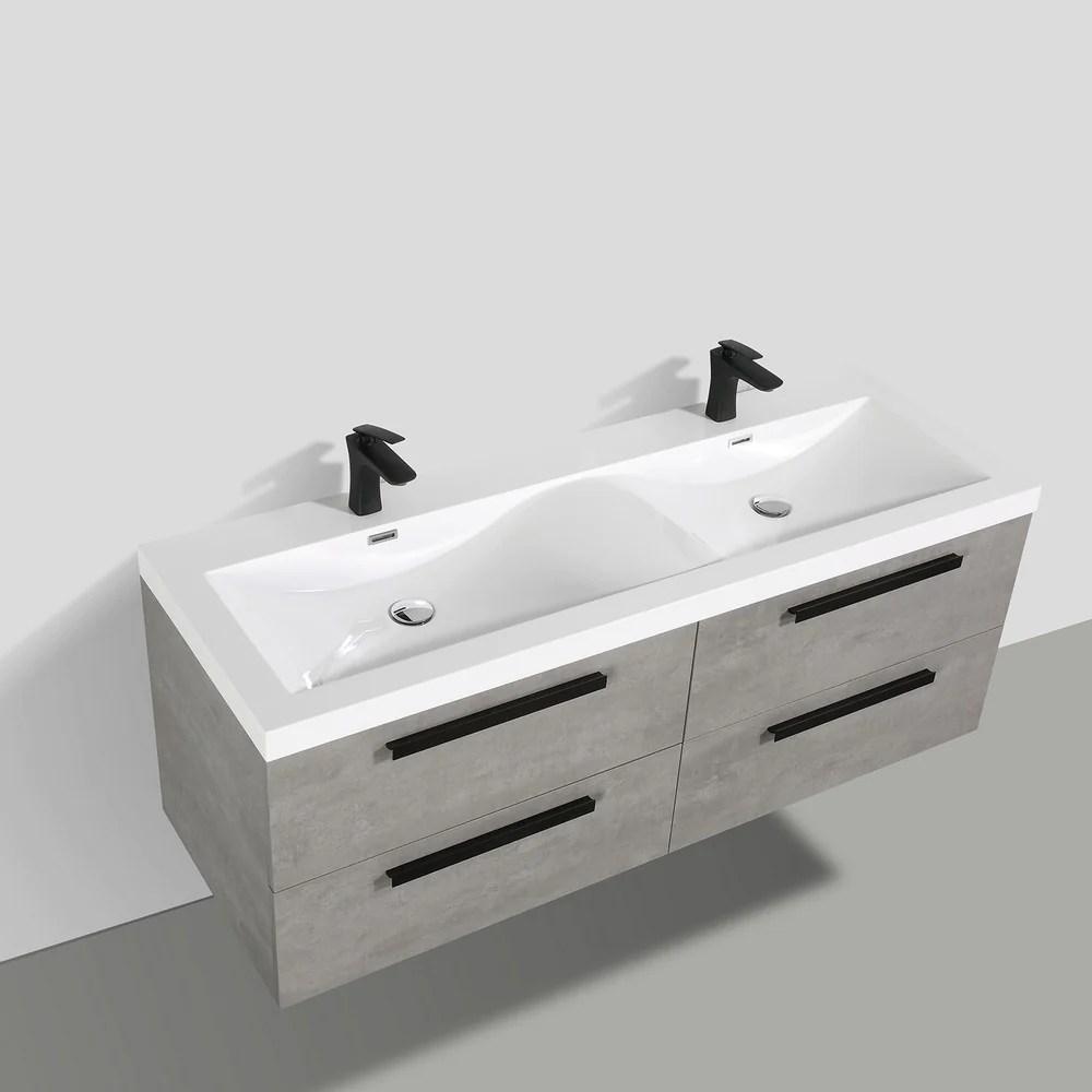 surf 57 inch grey double sink vanity