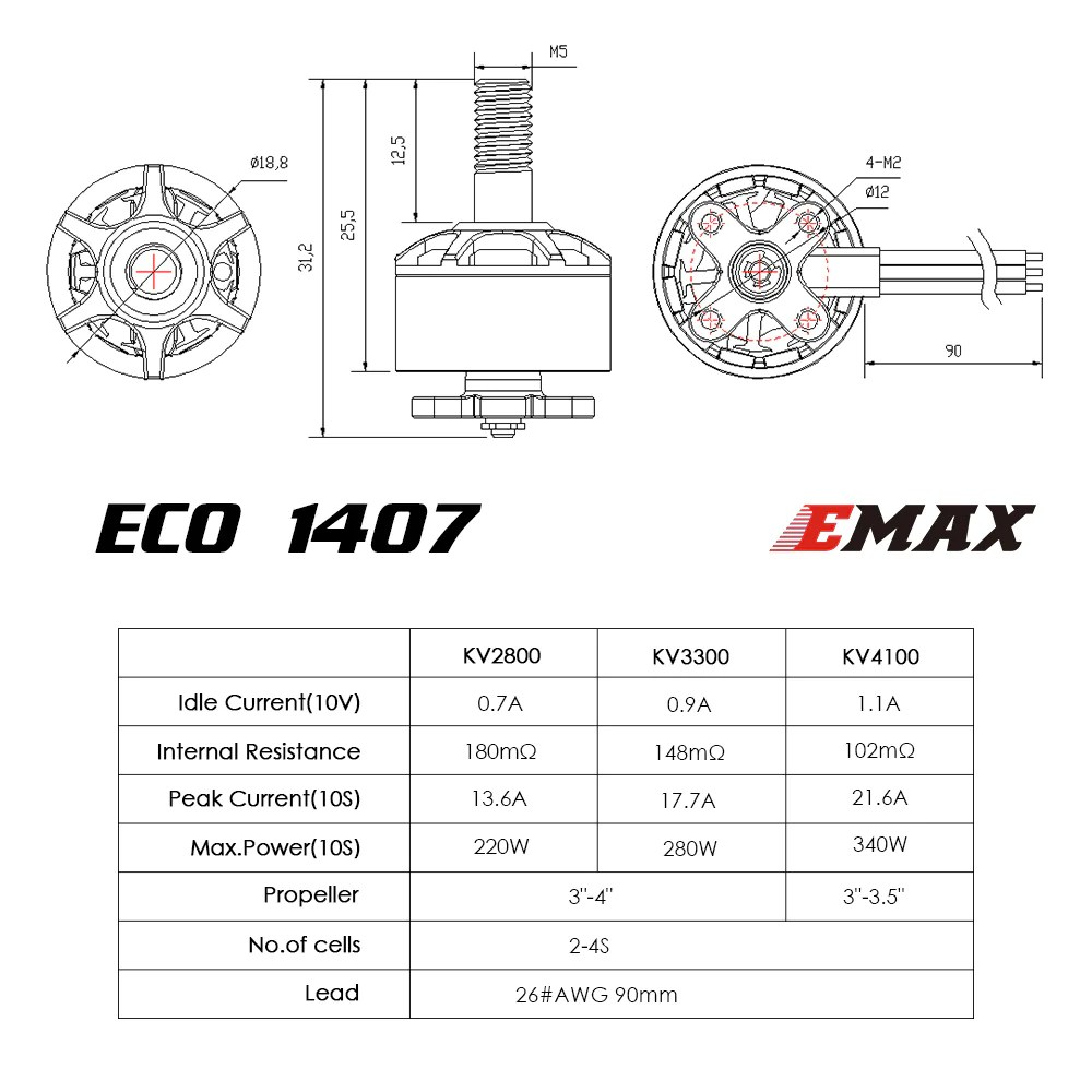 ECO Micro Series 1407 - 4100kv 3300kv 2800kv Brushless Motor
