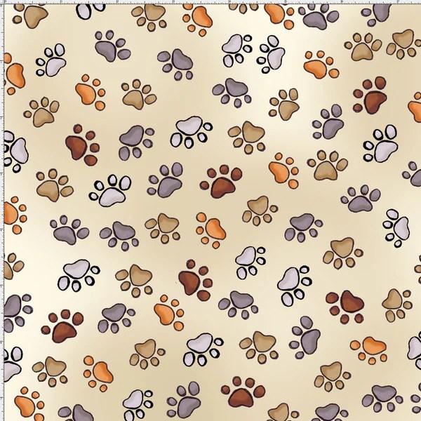 Free Fall Puppy Wallpaper Puppy Paws Bone Fabric Brown Paw Fabrics Loralie Designs