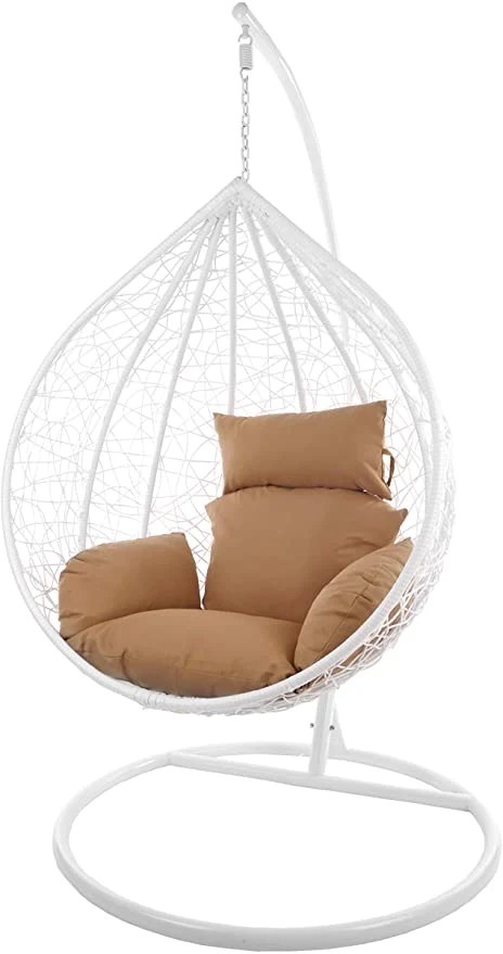 hindoro outdoor indoor balcony garden patio swing chair with stand and cushion set standard white