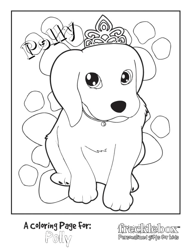 Personalized Princess Puppy Coloring Page  Frecklebox– frecklebox