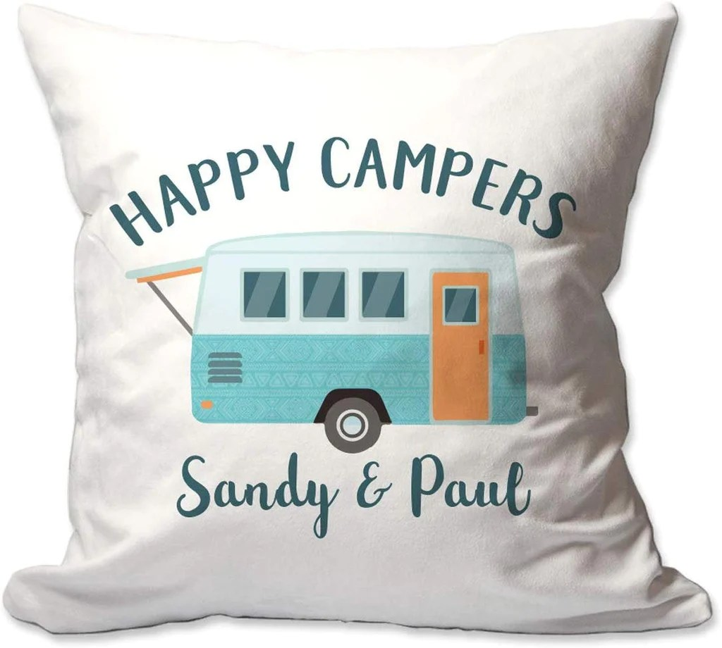 personalized happy campers 17 x 17 throw pillow cover only or cover with insert