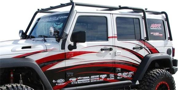 mbrp front roof rack extension coated black 2007 2018 jeep wrangler jk 4 door