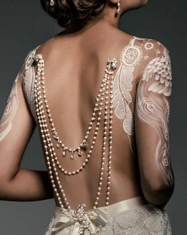 Wedding back jewellery  pearl  vintage silver