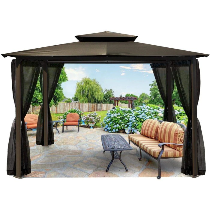 paragon outdoor barcelona gazebo soft top 10x12 ft with misquito netting 5 colors