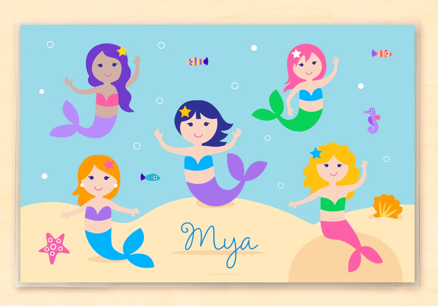mermaids personalized kids placemat