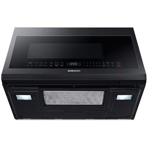 samsung 2 1 cu ft over the range microwave in black stainless steel me21m706bag