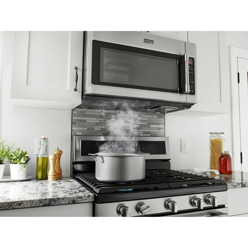 maytag 1 9 cu ft over the range microwave in stainless ymmv6190fz