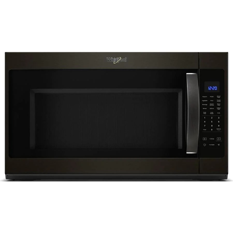 whirlpool 2 1 cu ft over the range microwave in black stainless y