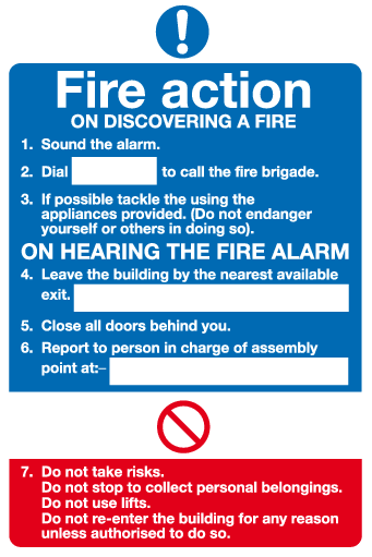 Fire action On discovering a fire sign  MJN Safety Signs Ltd