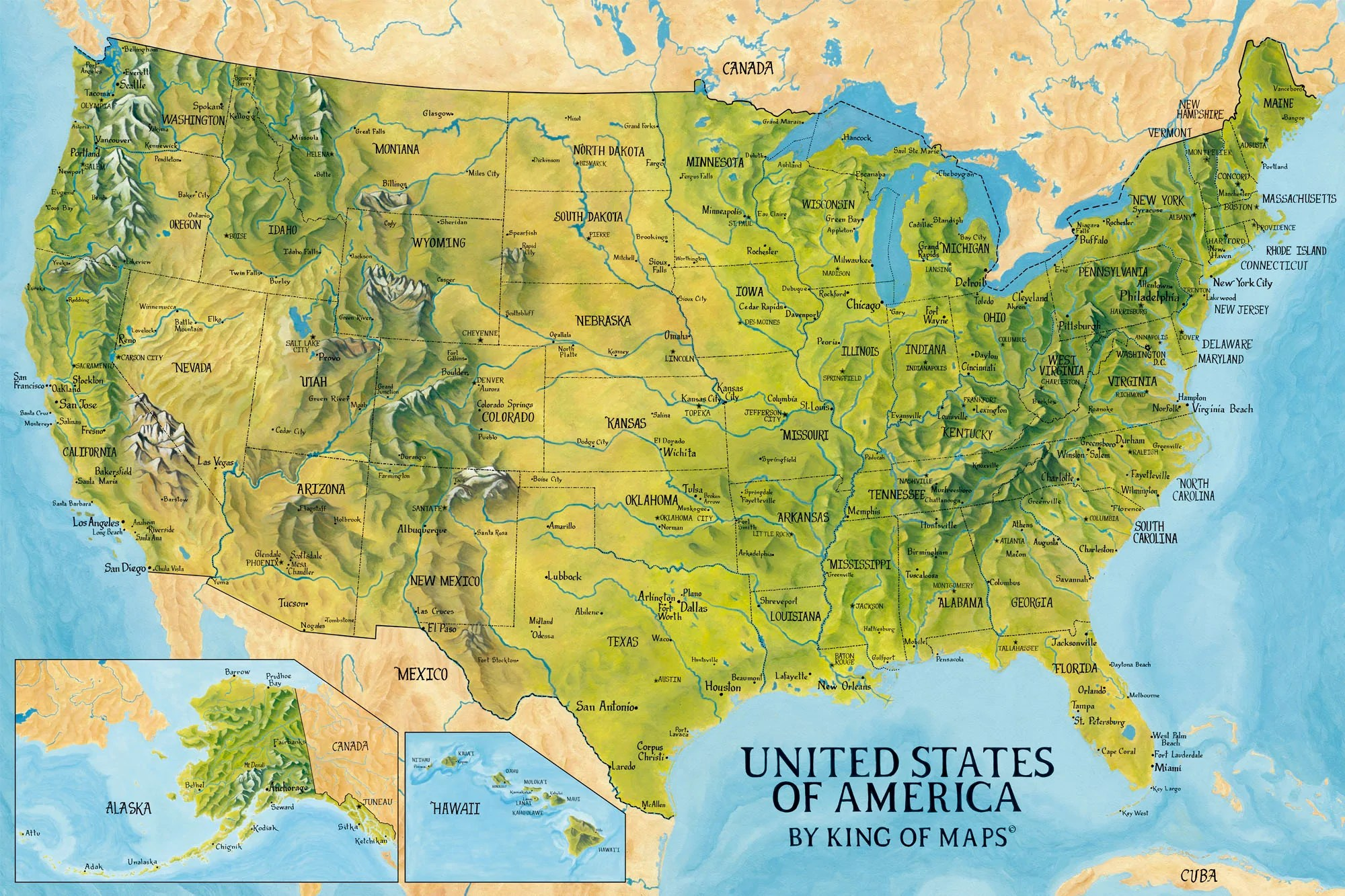 Mountains are some of the most majestic natural features around. United States Map Highly Original Painted Map Of The Usa United States Of Maps