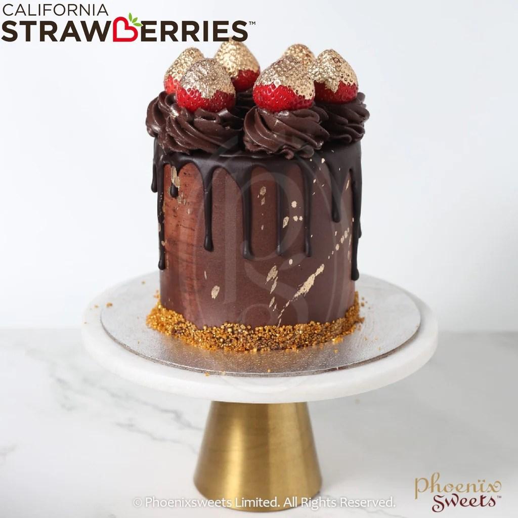 Phoenix Sweets 訂購 生日蛋糕 Birthday Cake 香港 Hong Kong 牛油忌廉蛋糕 - Golden Strawberry Chocolate 網上蛋糕店 Online Cake ...