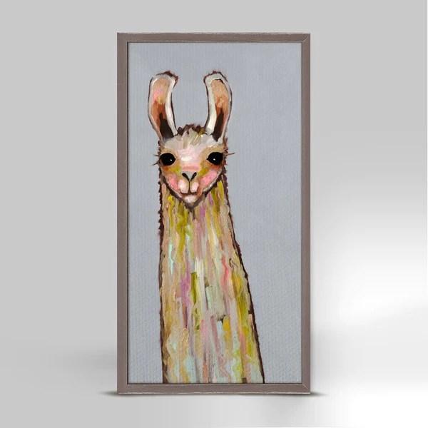 Baby Llama on Gray Mini Print 5 x 10 by Eli Halpin  Oil